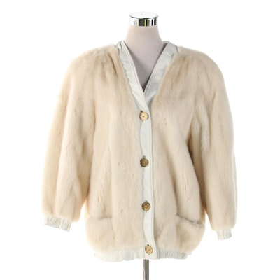 Kotsovos Tourmaline Mink Fur and White Leather Jacket, Vintage