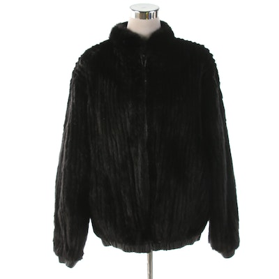 Dyed Black Corded Mink Fur and Leather Reversible Zip Jacket