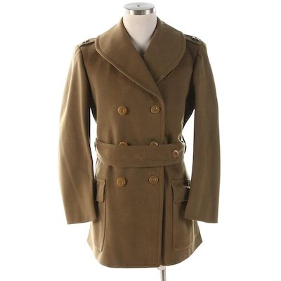 Double-Breasted Wool Military Coat with Captain Epaulet Bars, 1940s Vintage