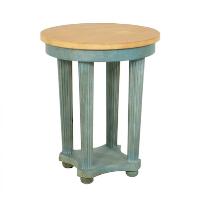 Wood Four Column Accent Table, Late 20th Century
