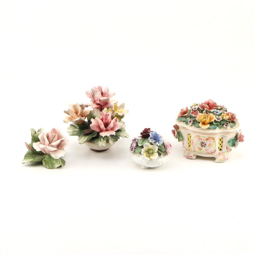 Capodimonte and Radnor Ceramic Floral Arrangements