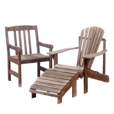 Teak Patio Adirondack Style Chair with Ottoman and Arm Chair