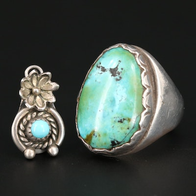 Southwestern Style Sterling Silver Turquoise Ring and Pendant