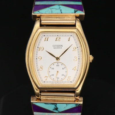 Citizen Gold Tone Quartz Wristwatch With 14K Gold Navajo End Links