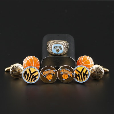 Sterling New York Knicks Ring and Basketball Themed Cufflinks Including Enamel