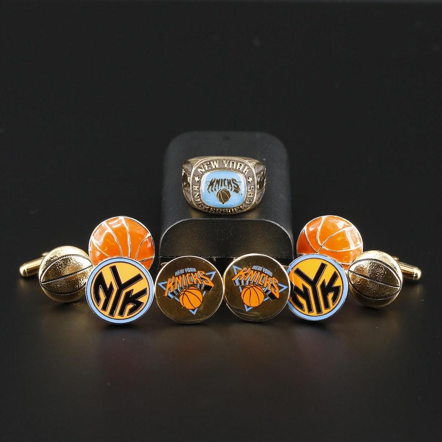Sterling New York Knicks Ring and Basketball Themed Cufflinks Including Enamel