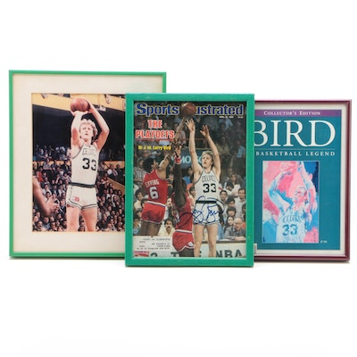 Larry Bird Signed Sports Illustrated Magazine and More, circa 1980s