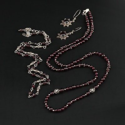 Sterling Silver Garnet Necklaces and Earrings Including Silpada