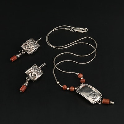 Sterling Silver Goldstone Glass Earrings and Silpada Necklace