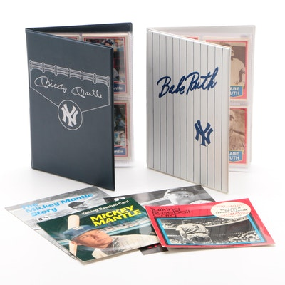 Babe Ruth and Mickey Mantle Baseball Card Binders with Talking Cards