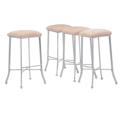 Upholstered Metal Base Counter Height Stools, Contemporary
