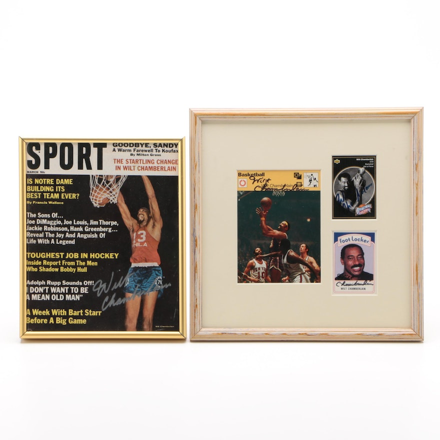 Wilt Chamberlain Signed Sport Magazine and Basketball Cards
