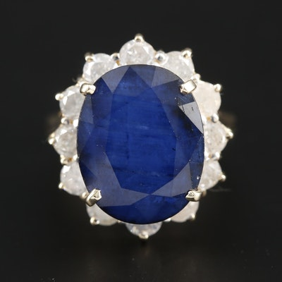 14K Yellow Gold 11.14 CT Sapphire and 2.16 CTW Diamond Ring