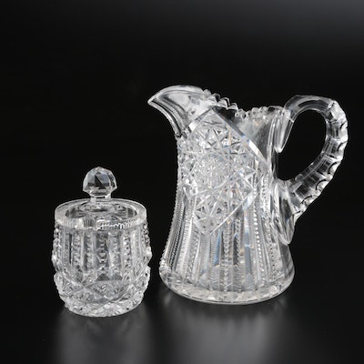 American Brilliant Cut Glass Pitcher and Honey Jar, Late 19th/Early 20th Century