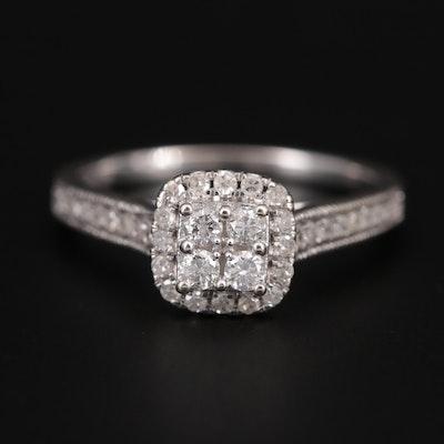 10K White Gold Diamond Halo Ring