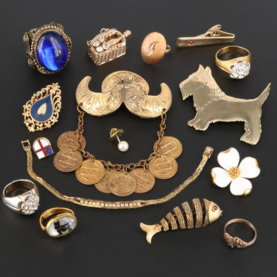 Vintage Assortment of Rings and Charms Including an Articulating Fish Brooch