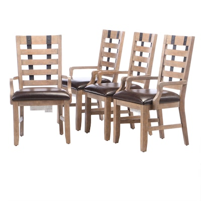 Industrial Style Pickled Finish Upholstered Dining Chairs, Contemporary