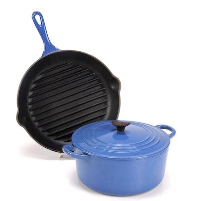 Le Creuset Blue Enamel Cast Iron Dutch Oven and Grill Pan