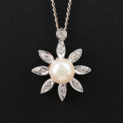 14K White Gold Cultured Pearl and Diamond Pendant Necklace With Flower Motif
