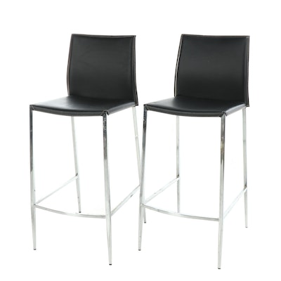 Pair of Modern Chrome and Leather Barstools