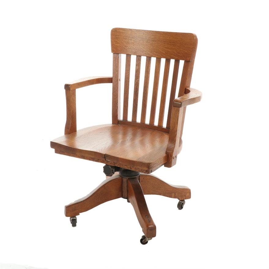 Oak Rolling Desk Chair