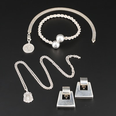 Sterling Silver Bracelets, Earrings and Necklace