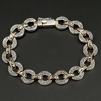 Sterling Silver Marcasite Chain Link Bracelet