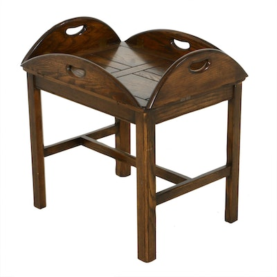 Drexel Oak Folding Butler's Tray Table, Mid to Late 20th Century
