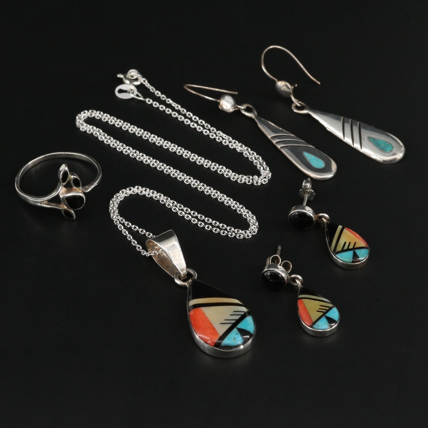 Sterling Assorted Jewelry with Mother of Pearl, Black Onyx and Turquoise
