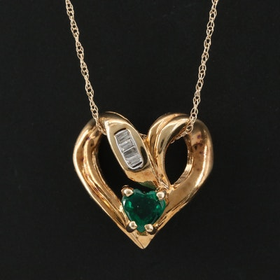 10K Yellow Gold Emerald and Diamond Heart Pendant on 14K Yellow Gold Chain