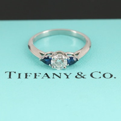 Tiffany & Co. Platinum Diamond and Sapphire Ring
