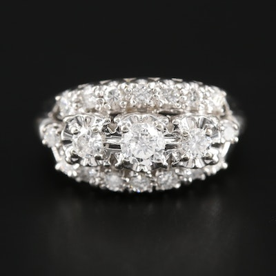 Vintage 14K White Gold 1.03 CTW Diamond Ring