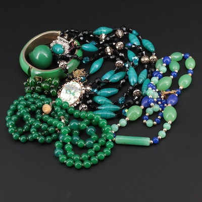 Beaded Jewelry Assortment With Necklaces, Bracelets, Rings, and Earrings