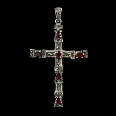 Sterling Silver Garnet and Marcasite Cross Pendant