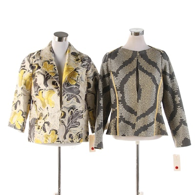 3 Sisters Yellow, Gray and Cream Woven Jackets