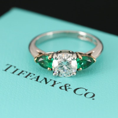 Tiffany & Co. Platinum Diamond and Emerald Ring with 18K Yellow Gold Accents