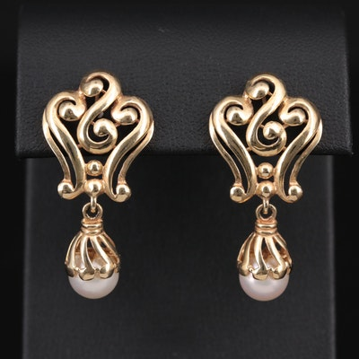 14K Yellow Gold Cultured Pearl Drop Earrings