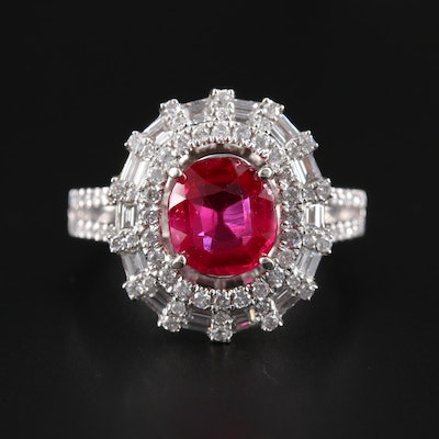 14K White Gold Ruby and 1.10 CTW Diamond Ring