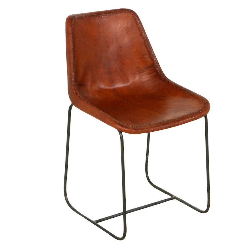 Leather Slope Side Chair with Weave Detail and Metal Base