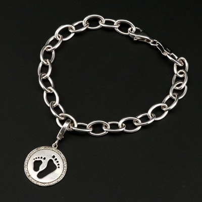 Sterling Silver Diamond Charm Bracelet