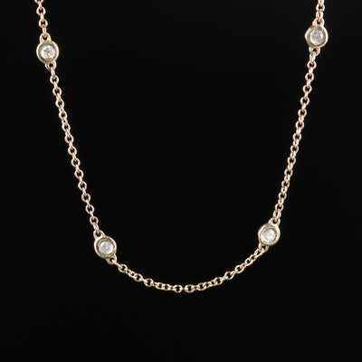 14K Yellow Gold Diamond Station Necklace