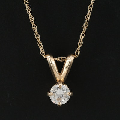 14K Yellow Gold Diamond Pendant on 10K Yellow Gold Chain Necklace