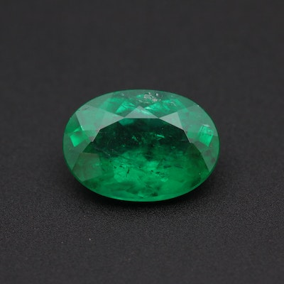 Loose 3.17 CT Oval Faceted Emerald Gemstone