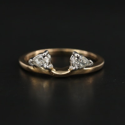 14K Yellow Gold Diamond Enhancer Ring with White Gold Accents