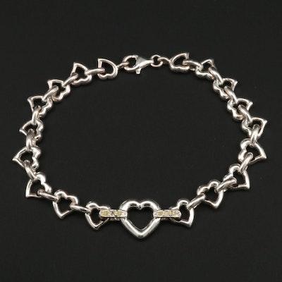 Sterling Silver and Diamond Linked Hearts Bracelet