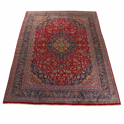 8'2 x 11'3 Hand-Knotted Persian Mashad Room Size Rug, 1970s