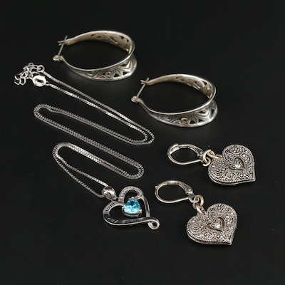 Heart Earrings with Sterling Silver Necklace and Earrings