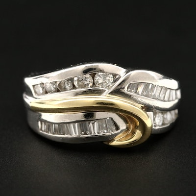 Platinum Diamond Ring with 18K Yellow Gold Accent