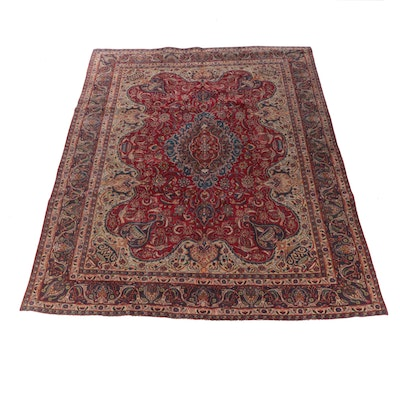 9'6 x 12'5 Hand-Knotted Persian Yazd Room Sized Wool Rug