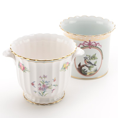 "Spode ""Trapnell"" Bone China Cachepot with MoMA Haviland Reproduction Cachepot"